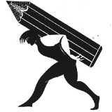 Logo of worker with large pencil on his back